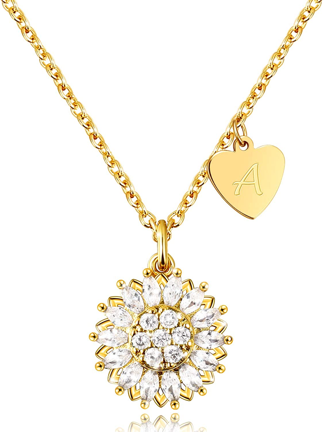 Today's only KissYan Memphis Mall Sunflower Necklace for Women Gold Girls Init Plated 18K