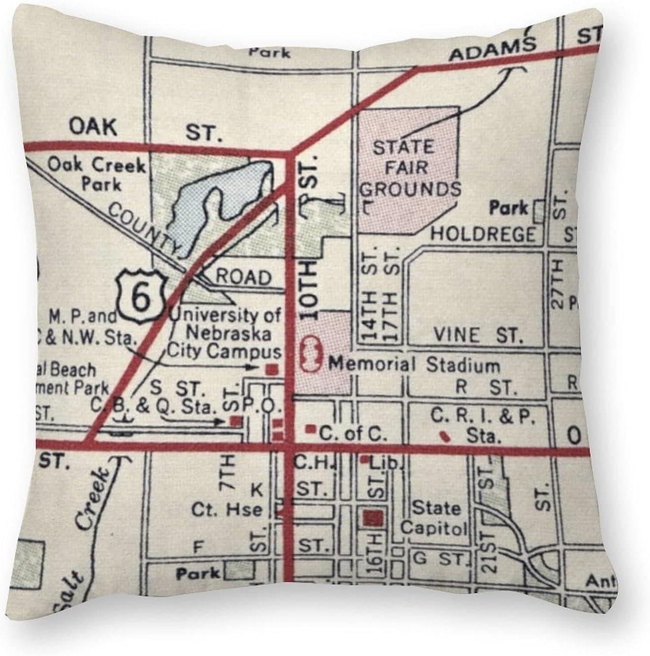 ArogGeld Max 54% OFF Waterproof Outdoor Throw Max 49% OFF Pillow Nebraska Cush Cover Map
