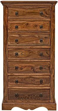 KINGWOOD FURNITURE Chest of Seven Drawer in Sheesham Wood with Honey Finish - (Brown, Size 24 x 15 x 47 Inches)