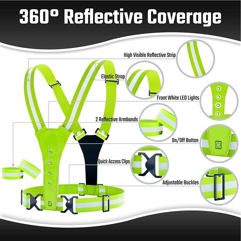 Chaleco reflectante LED Cintur/ón para correr Alta visibilidad ajustable Advertencia de seguridad nocturna Chaleco el/ástico Equipo para correr reflectante para deportes al aire libre Caminar Ciclismo