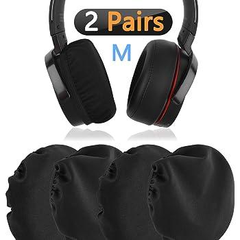Geekia ヘッドホンカバー 織物 防塵 洗える 弾性 (8cm - 11cm) 中型や大型 の ヘッドホン用 イヤーパッドカバー (2ペア) ブラック