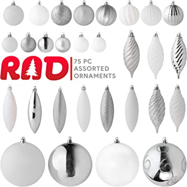 R N' D Toys RN'D Christmas Decorative Ball Ornaments – White and Silver Christmas Ball Hanging Tree Ornament Set Assorted Sha