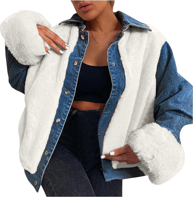 Misaky Women's Loose Single Breasted Lapel Plush Denim Stitched Warm Denim Jacket Shaggy Coat
