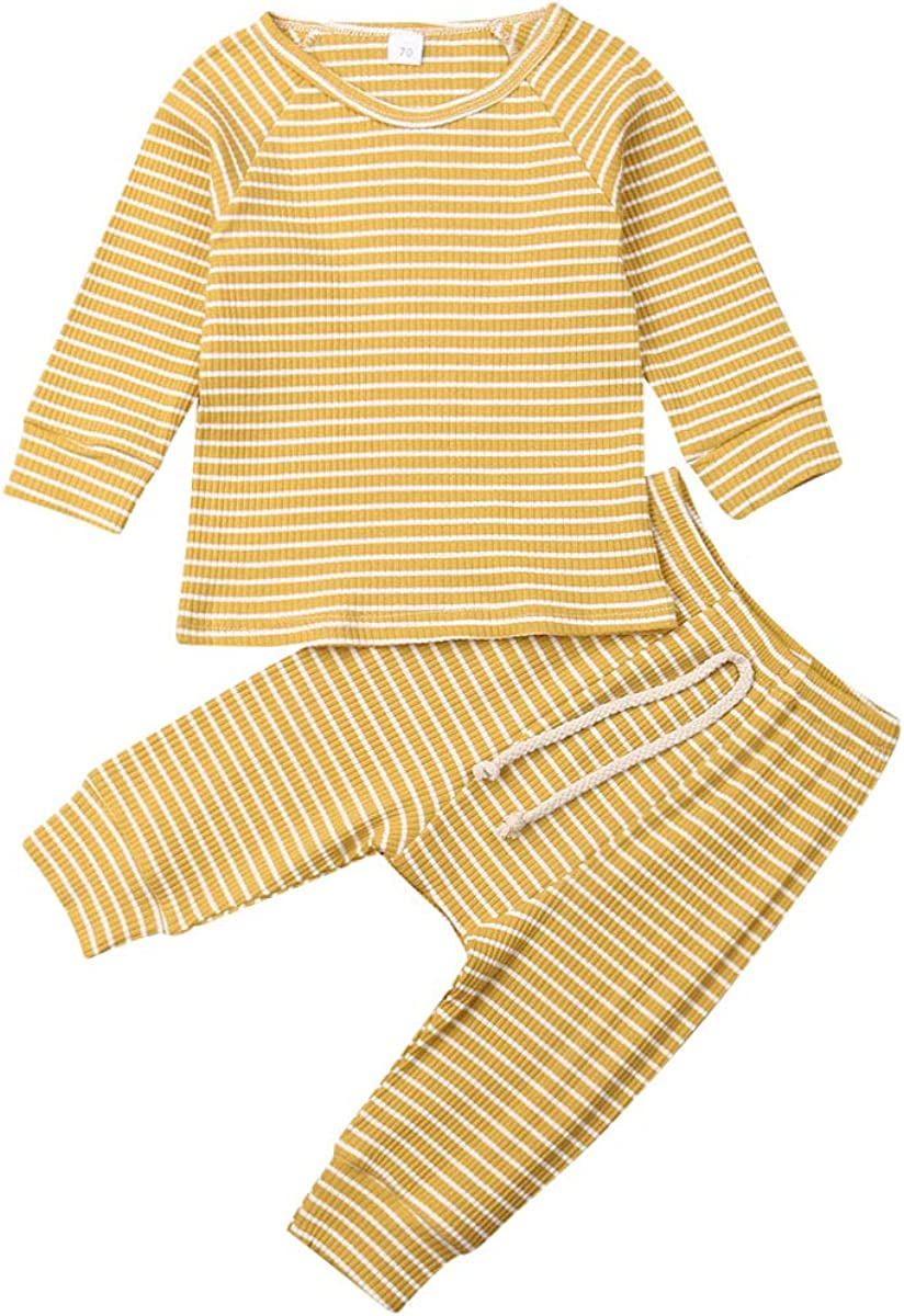 Baby Unisex Clothes, Top with Pants Set 2 Piece Outfit, Basic Plain Rib Stitch Clothing Set for Infant Baby Boy Girl