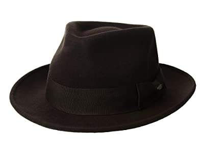 SCALA Wool Felt Fedora with Grosgrain (Chocolate) Caps