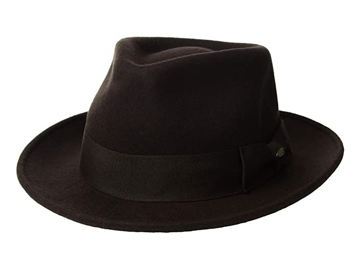 SCALA Wool Felt Fedora with Grosgrain (Chocolate) Caps