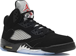NIKE Mens AIR Jordan 5 Retro OG, Black/FIRE RED-Metallic Silver-White, 16