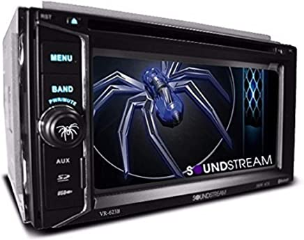 """$89 Get Soundstream VR-623B 6.2"""" Touchscreen High Resolution TFT LCD Car CD DVD MP3 Receiver w Built-in Bluetooth V3.0 Hands Free Calls Audio Streaming USB AUX SD Card Inputs LED RGB Colors AM/FM Radio Stereo"""