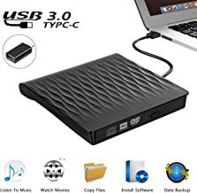 External CD DVD Drive, USB 3.0 Slim Portable External CD DVD Rewriter Burner Writer, High Speed Data Transfer USB Optical Drive for PC Desktop/Laptop/Linux/Windows 10/8/7/XP(Black)