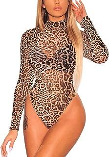 Womens Sexy Black Sheer Mesh Long Sleeve Jumpsuit Bodysuits Clubwear