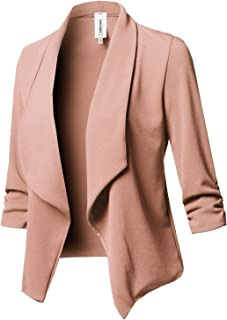 8c75b6444f5 Awesome21 Women s Stretch 3 4 Gathered Sleeve Open Blazer Jacket