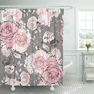 Emvency Shower Curtain Pink Flowers and Leaves on Gray Watercolor Floral Pattern Waterproof Polyester Fabric 72 x 72 Inches Set with Hooks