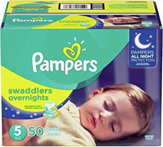 Diapers Size 5, 50 Count - Pampers Swaddlers Overnights Disposable Baby Diapers, Super Pack (Packaging May Vary)