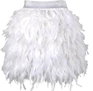 Women's Sexy Mid Waist Mini A-line Feather Skirt for Party Wedding Halloween