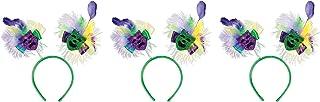 Beistle Mardi Gras Headwear 3 Piece Costume Accessories Head Boppers, One Size, Green/Yellow/Purple