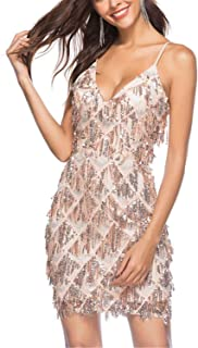 Cyose Trendy V Neck Strap Lace Sequined Backless Summer Women Dress Vintage Bodycon Festa Brick Mini Party Dresses