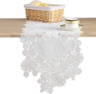 LUCKYHOUSEHOME White Lace Flower Embroidery Table Runner Rustic Wedding Party Church Decorations Doily 13 x 35 Inch