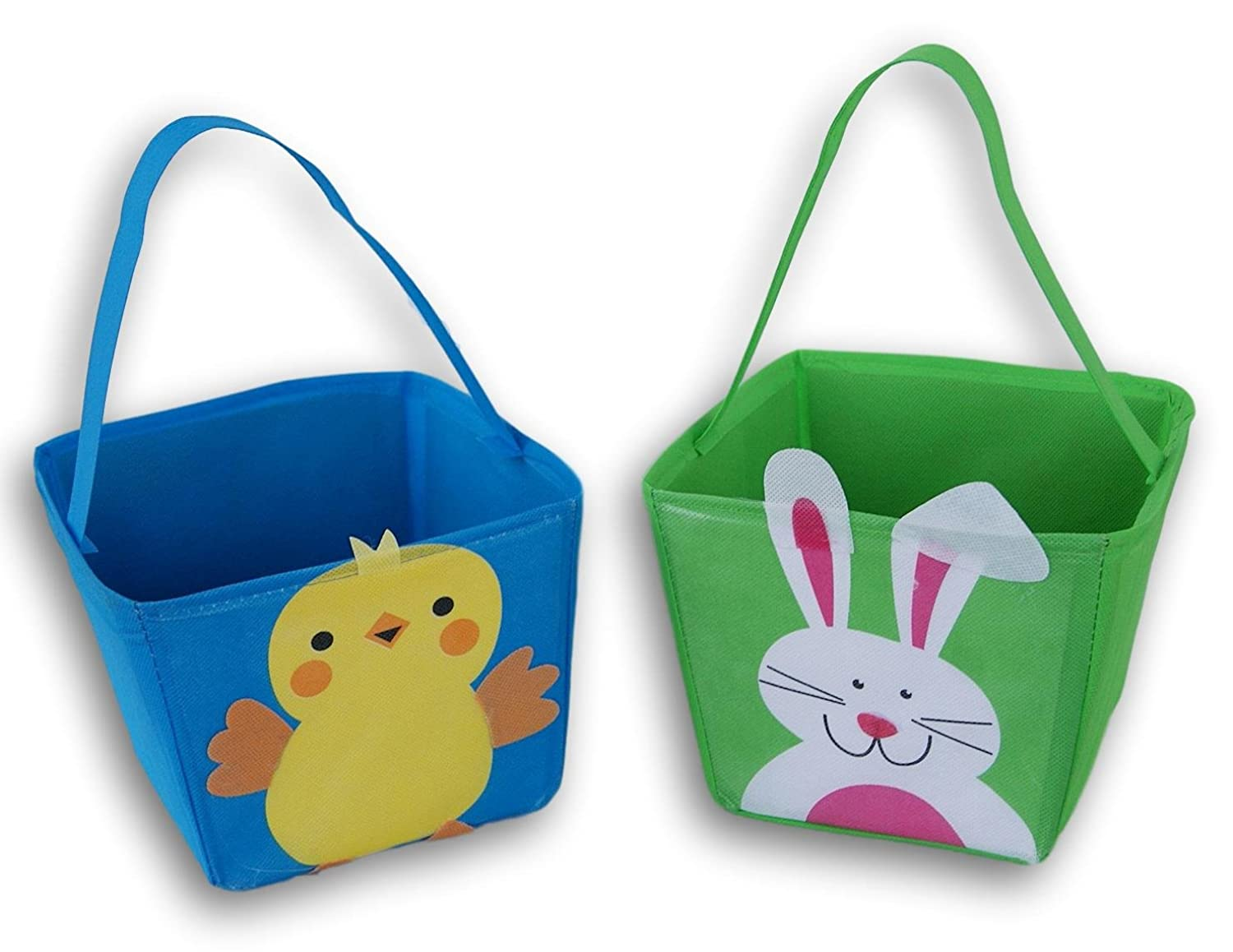 Chick and Bunny Fabric Easter Basket Bucket - 2 Count