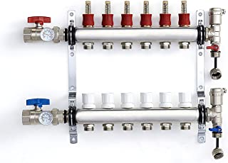 PEX Manifold Radiant Floor Heating Set 6 Loop System Stainless Steel Heated Hydronic Heating For 1/2
