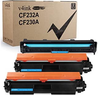 V4INK 3PK Compatible Replacement for HP 30A 32A CF230A Toner Cartridge CF232A Drum Black Set for HP Laserjet Pro MFP M227f...