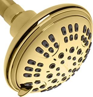 ShowerMaxx, Luxury Spa Series, 6 Spray Settings 4.5 inch Adjustable High Pressure Shower Head, MAXX-imize Your Shower with Easy-to-Remove Flow Restrictor Showerhead, Polished Brass/Gold Finish