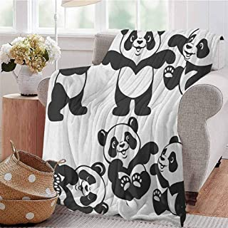 AndyTours Comfort Blanket,NurserySet with Playful Panda Bear in Monochrome Style Happy Young Zoo Animal Childhood,Gifts to Your Family,Friends,Kids Black White 32