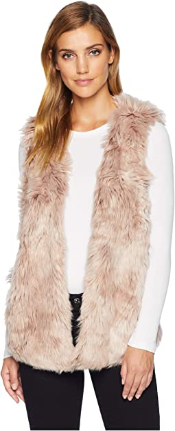 Melange Long Fur Vest with Heather Knit Lining