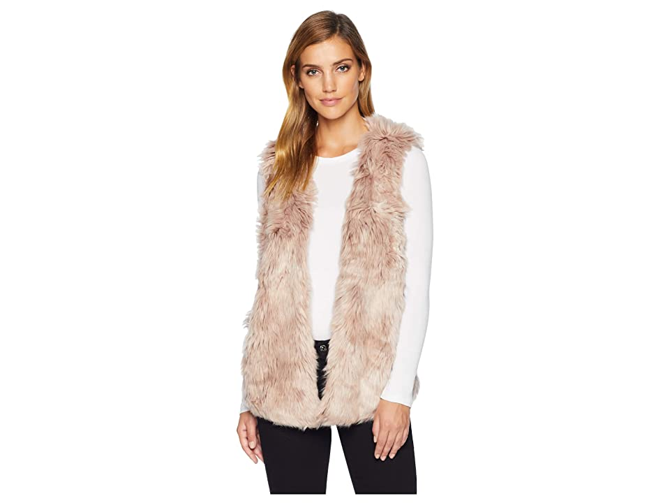 Dylan by True Grit Melange Long Fur Vest with Heather Knit Lining (Pink) Women