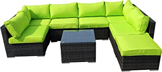 Thinkga 7 Seater Outdoor Patio Furniture Set, Mixed Color Vine Handwoven Rattan Garden Furniture, with 7 Seat and 1 Table (Green)