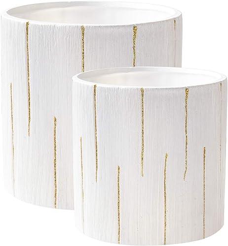 "high quality Ceramic sale Flower Vase high quality Decorative Centerpiece for Home or Wedding, Planter Pot Cylinder Shape, 5"" & 6"" Set of 2, White outlet online sale"