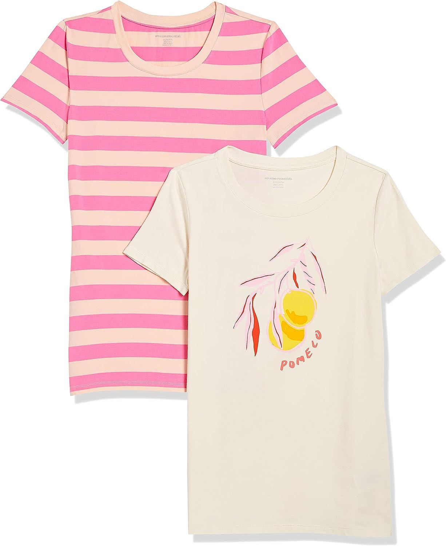 Amazon Essentials Women's 2-Pack Classic Fit Short Sleeve Crewneck Graphic T-Shirt