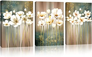 "Modern Flower Artwork Wall Art for Bathroom Wall Decor White Blossom Brown Abstract Flower Background Canvas Painting Prints Flower Picture Bedroom Kitchen Home Decoration Size:16"" x 24"" x 3 Pieces"