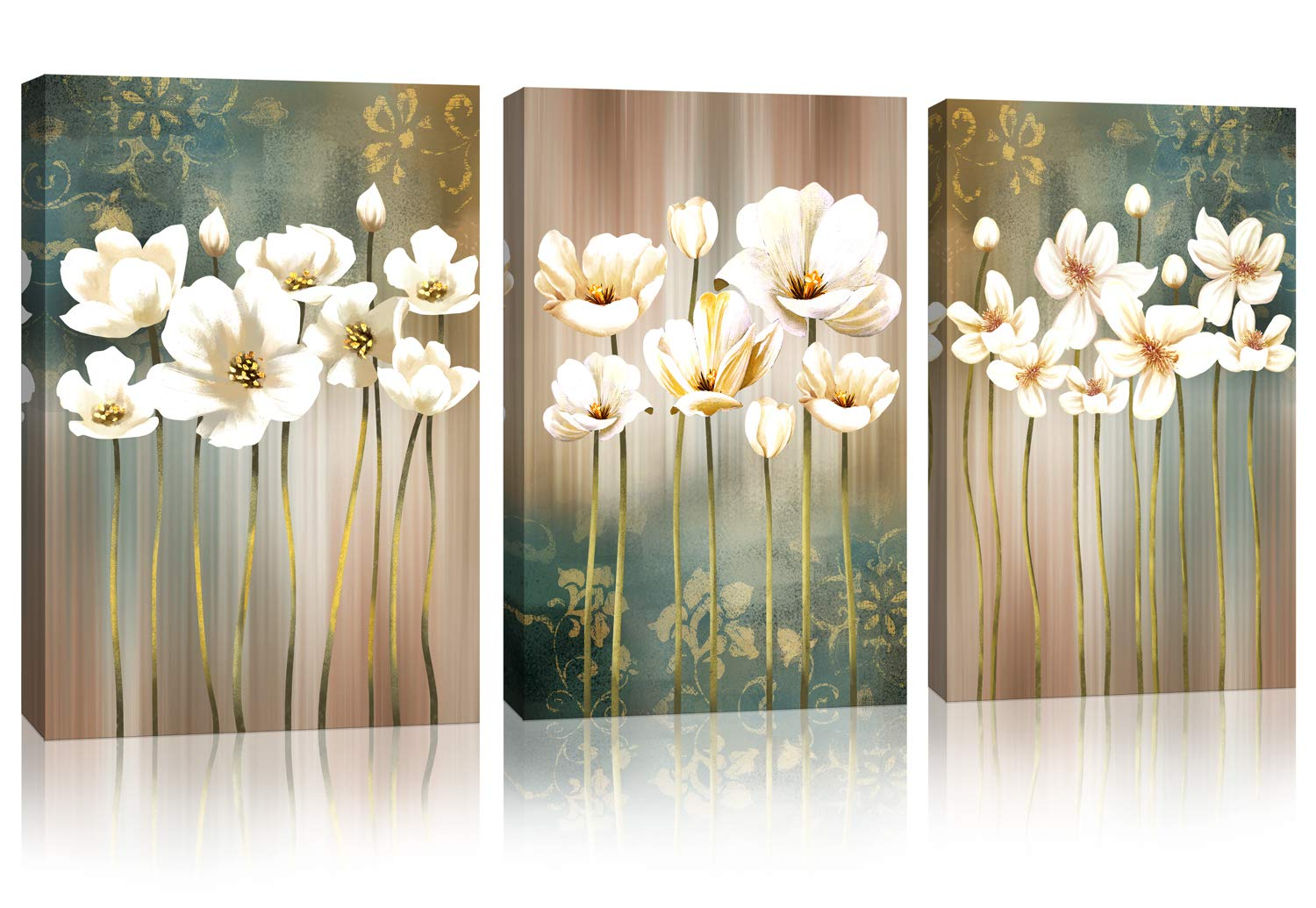 Flower Modern Artwork Canvas Wall Art Bathroom Wall Decor White Blossom Brown Green Abstract Flower Background Canvas Painting Prints Picture Bedroom Kitchen Home Decoration Size 12 X 16 X 3 Pieces Amazon Com Au Home