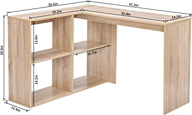 Coavas Corner Computer Desk L Shaped Desk with 4 Shelves 47 inch Home Study Desk Office Writing Workstation Gaming Table for