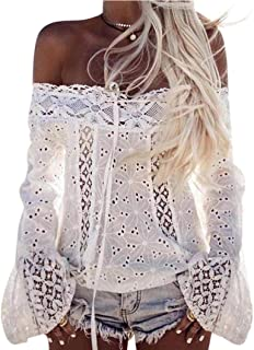 Off Shoulder Tops HGWXX7 Women Slash neck Puff Long Sleeve Lace Loose Blouse Tops T-Shirt