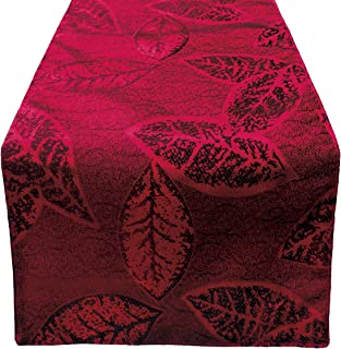 OLYPHAN Christmas Table Runner 108 Inches Rustic Leaf - Burgundy Red Table Runners Polyester for Holiday Dining Decoration, Fancy Thanksgiving Family Dinner, Xmas Gathering/Party 13 in x 108 inches