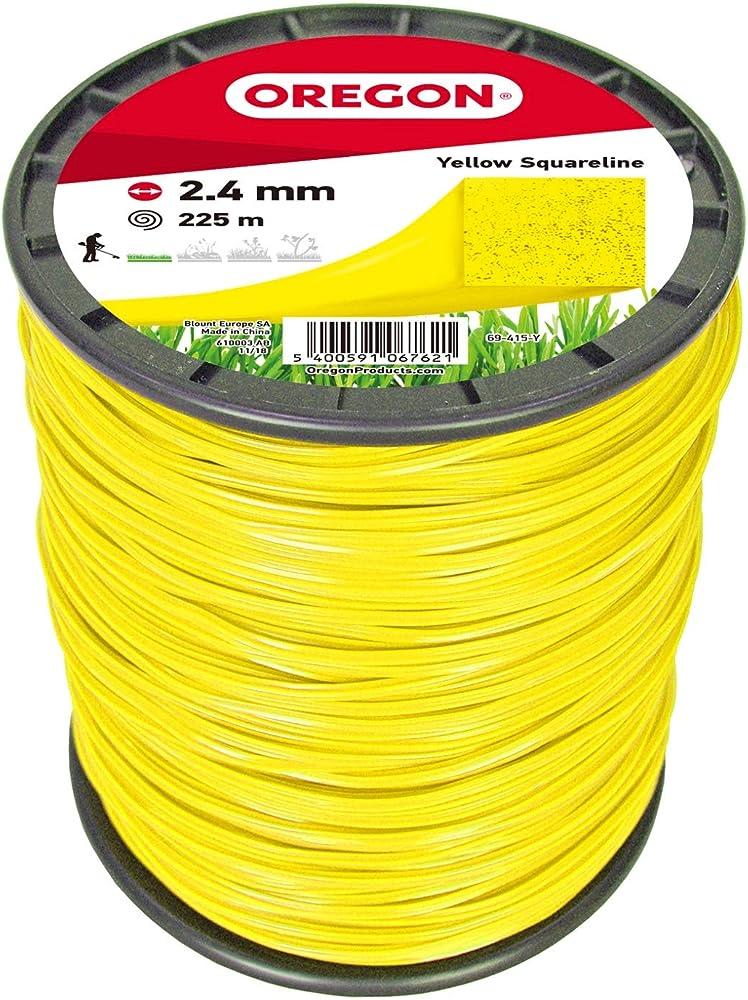 Oregon 69-415-Y Hilo de cortacésped cuadrado amarillo para cortadores de césped y desbrozadora, 2,4 mm x 225 m, 2.4mm x 225m