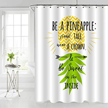 Island Pineapple Tropic Fruit Pattern Stamped Minimal Backdrop Pop Art Fabric Bathroom Decor Set with Hooks Ambesonne Pineapple Shower Curtain 70 Inches Turquoise Coral
