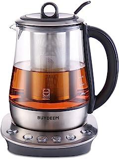 Buydeem K2423 Tea Maker, Durable 316 Stainless Steel & German Schott Glass Electric Kettle, Removable Infuser, Auto Keep W...