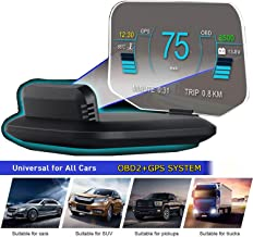 """$85 » YUGUANG 6"""" HUD OBD2 Suspended Virtual Display, C1 HUD Display 5 Modes OBD+GPS Dual System Speedometer Mileage Diagnostic Tools, Read Data Flow Fault Alarm Fault Clearing Compatible for All Cars"""