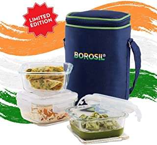 Borosil Limited Edition Pride Glass Lunch Box Set of 3, 320 ml, Square, Microwave Safe Office Tiffin