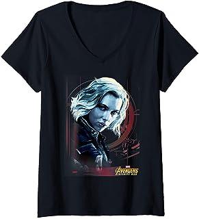 Femme Marvel Infinity War Black Widow Geo Portrait T-Shirt avec Col en V