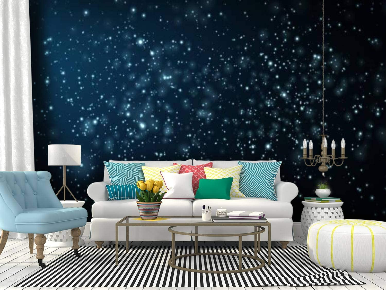 RECETHROWS Wall Mural Particles Background Depth a of Field Peel Max 74% OFF Fashionable