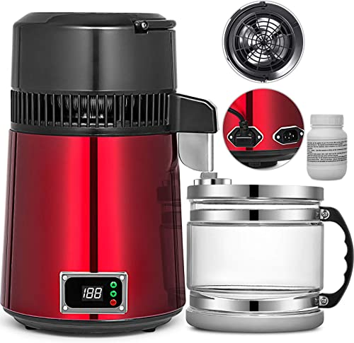 discount Mophorn popular Countertop Water sale Distiller 750W Digital Panel Stainless Steel Purifier Filter 1.1Gal 4L Glass Container Perfect for Home Use, Red online sale