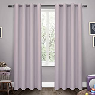 Exclusive Home Curtains Sateen Kids Woven Blackout Grommet Top Panel Pair, Lilac, 52x63, 2 Piece