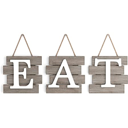 """Barnyard Designs Eat Sign Wall Decor, Rustic Farmhouse Decoration for Kitchen and Home, Decorative Hanging Wooden Letters, Country Wall Art, Distressed Brown/White, 24"""" x 8"""""""