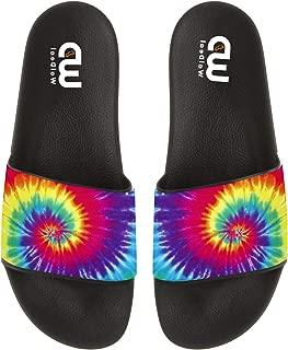 Tie Dye Colorful Art Summer Slides Slipper For Men Women Boy Girl Indoor Outdoor Beach Sandal Shoes