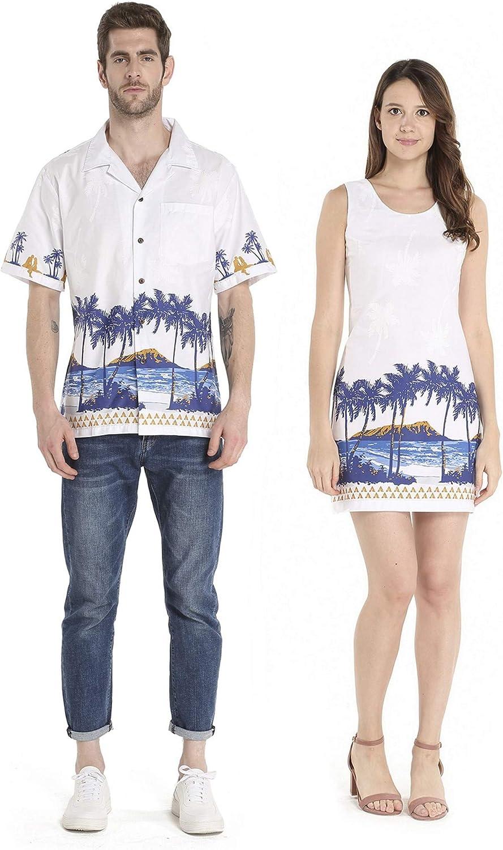 Couple Matching Hawaiian Luau Cruise Christmas Outfit Shirt Dress Diamond Head Beach Palm in Navy