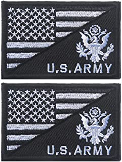 X.Sem USA American Flag w/U.S.Army Patch - 2 Pack Tactical Patches Embroidery Morale Emblem (Black/White)