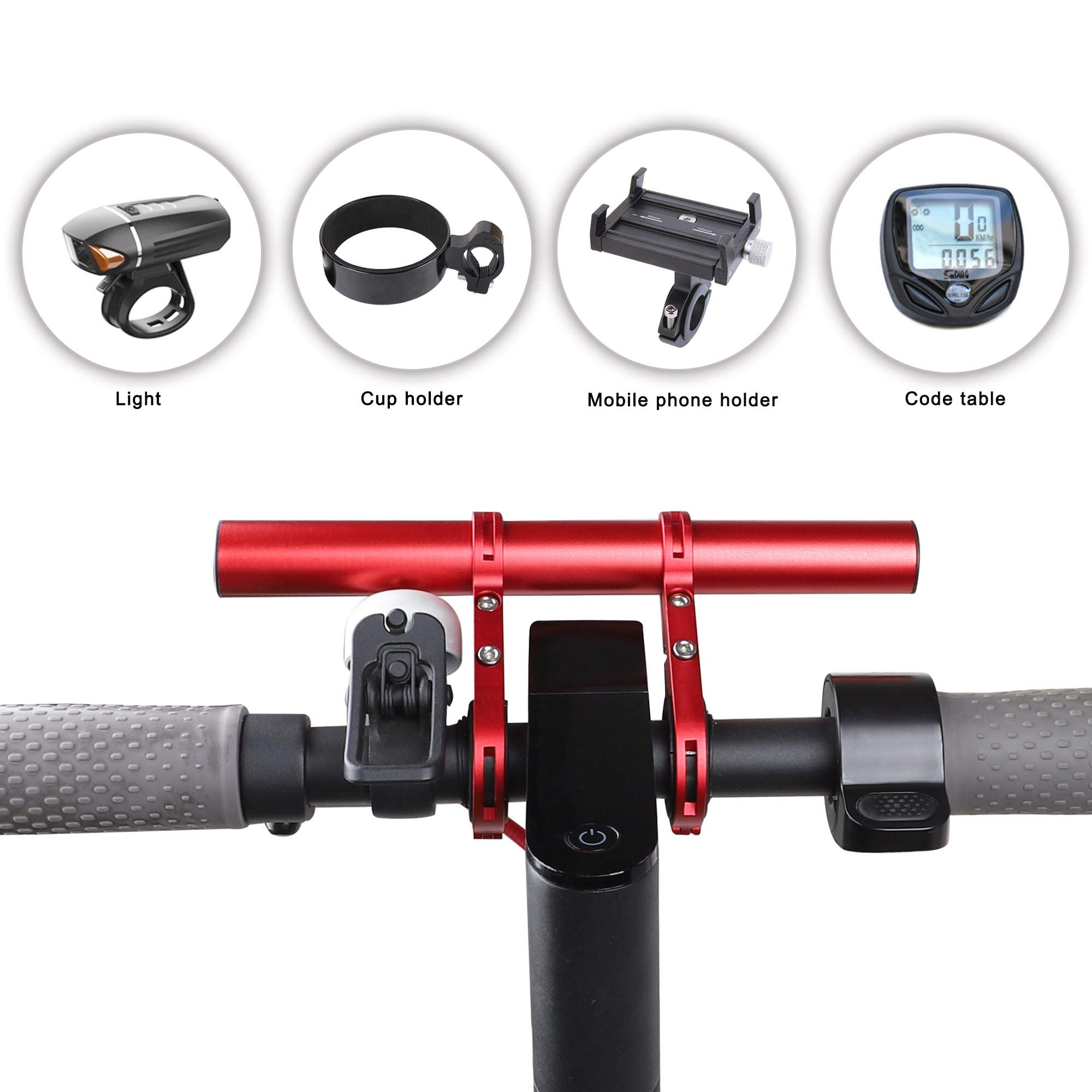 Bicycle Bracket Handlebar Holder Extension Double Clamp Lamp Flashlight Mount